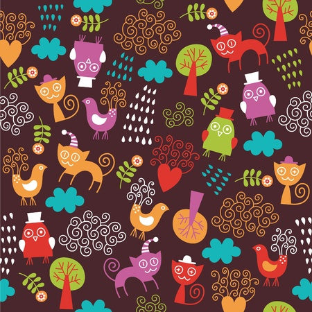 cartooning: seamless pattern with cute animals Illustration