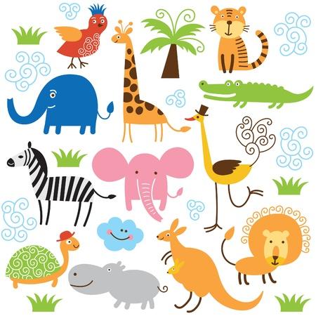 tigre caricatura: conjunto de animales de vectores