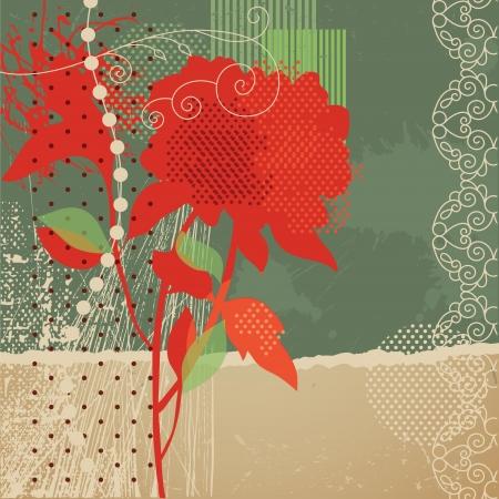 grunge floral background Stock Vector - 14209503