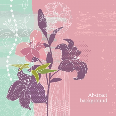 grunge floral background  Stock Vector - 14209505