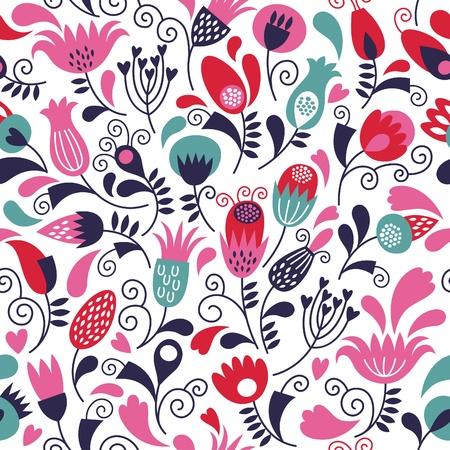 wallpaper pattern: seamless floral background  Illustration