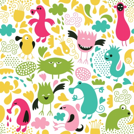 seamless pattern with cute monsters Vector