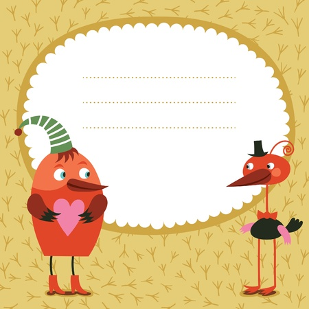 Greeting card, two cute birds  Vector