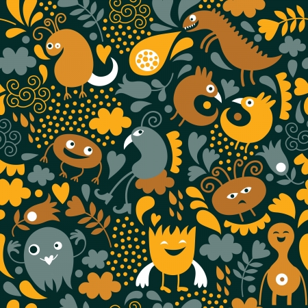 alien robot: seamless pattern with cute monsters