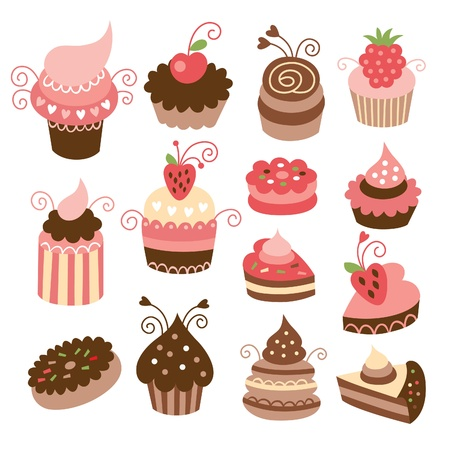 set of cute cupcakes Stock Vector - 14585387