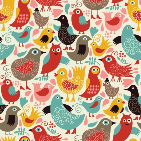 whimsical: seamless pattern with cute birds