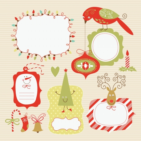 snowflake border: Set of Christmas and New Year elements  Illustration