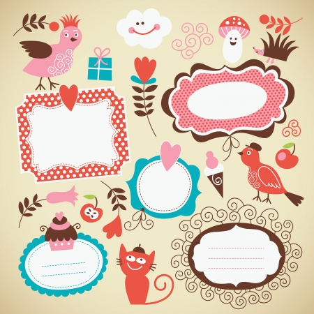 scrapbook cover: set  kids icon, frames and decor elements
