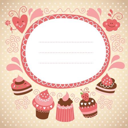 marco cumplea�os: tarjeta con pasteles dulces Vectores
