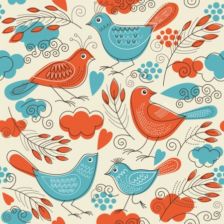 drawing an animal: Seamless pattern with birds
