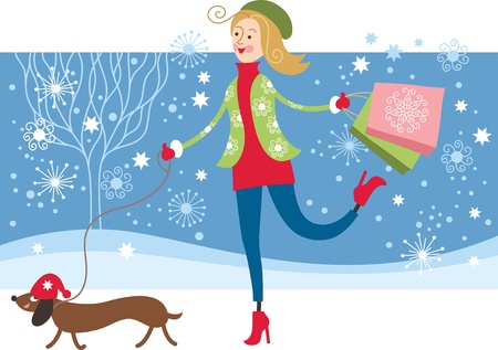 Young Girl walking with dog Vector