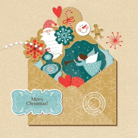 vintage envelope: Conjunto de elementos de la Navidad y del A�o Nuevo en el sobre de la vendimia