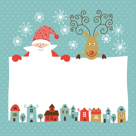 house of santa clause: Christmas and New Year card Illustration