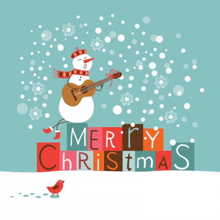 x mas background: Cute Snowman singing Illustration
