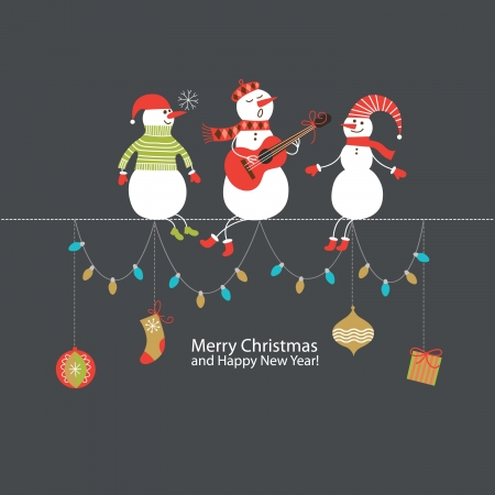 snowman background: Christmas and New Year greeting card