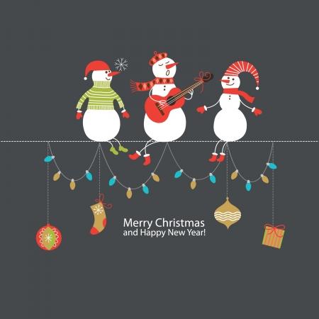 ni�o cantando: Navidad y A�o Nuevo de tarjetas de felicitaci�n Vectores