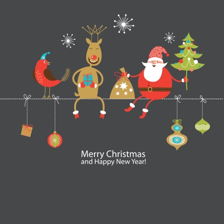 toy sack: Christmas and New Year greeting card