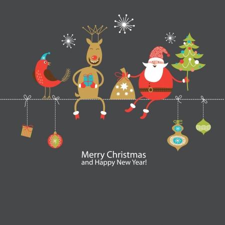 toy sack: Navidad y A�o Nuevo de tarjetas de felicitaci�n Vectores