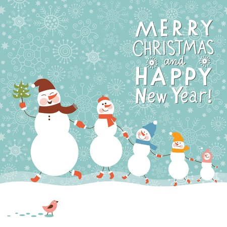 Family of snowmen, greeting Christmas card Illustration