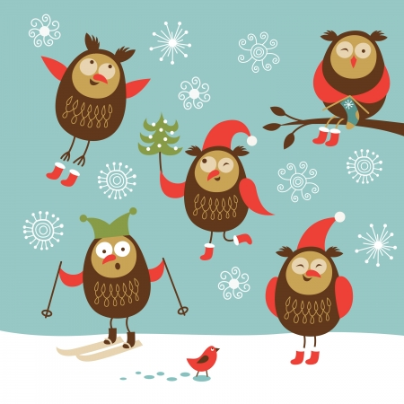 cartooning: set of vector cute owls  Illustration