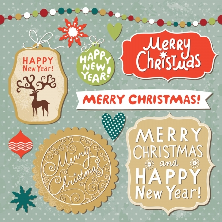 Set of Christmas and New Year lettering  Vector