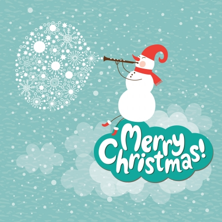 Christmas card, Snowman play on a horn Stock Vector - 16424626