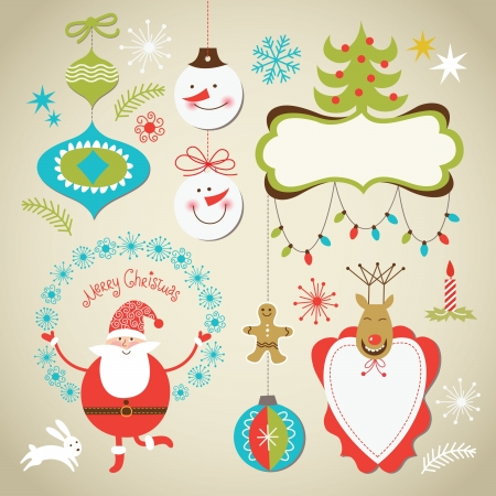 x mas background: Set of Christmas and New Year elements, cute frames for text