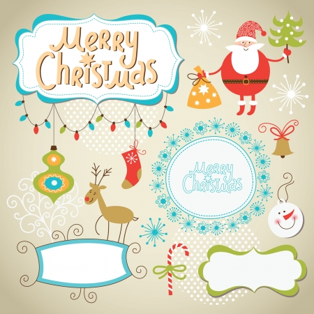 christmas frame: Set of Christmas and New Year elements, cute frames for text