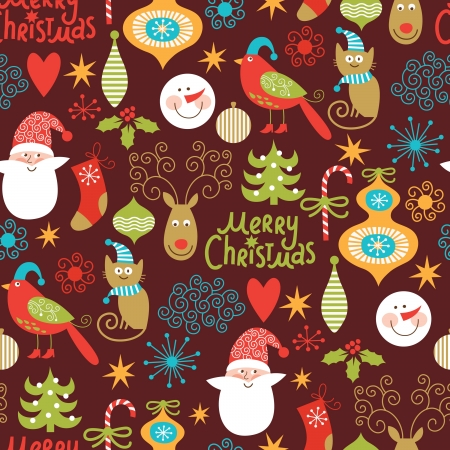 year s: seamless background, Christmas and New Year s decorative elements
