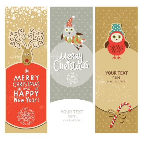 Set of Christmas and New Year s vertical banners  Vector