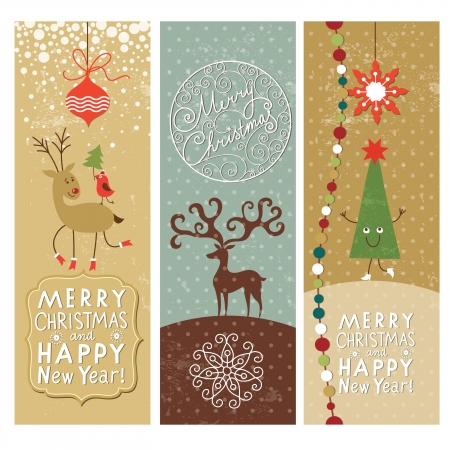 new year border: Set of Christmas and New Year s vertical banners