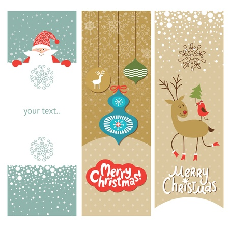 decorated christmas tree: Set of Christmas and New Year s vertical banners