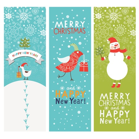 snowflake set: Set of Christmas and New Year s vertical banners