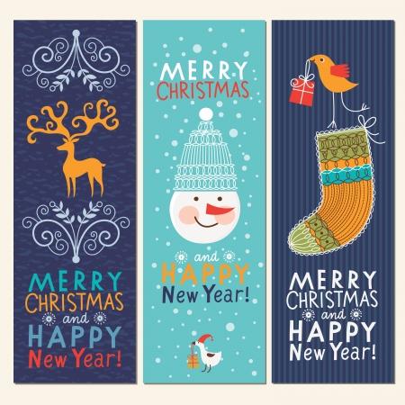 year        s: Set di Natale e Capodanno banner verticale s