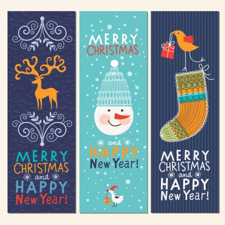 Set of Christmas and New Year s vertical banners  Stock Vector - 16508247