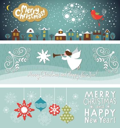 クリスマスと新年の水平方向のバナーの設定