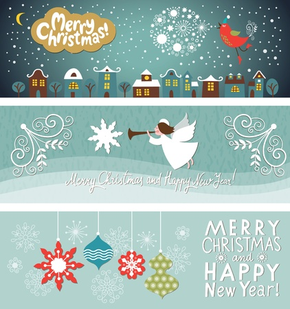 Set of Christmas and New Years horizontal banners