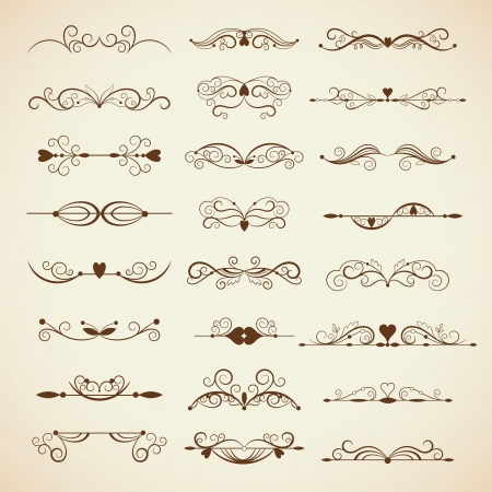 Vector set of calligraphic design elements, page decor Vector