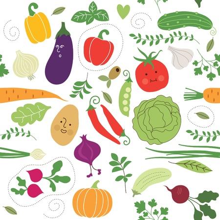 naadloze patroon, groenten illustraties