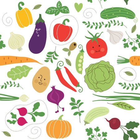 cartoon food: seamless pattern , vegetables illustrations