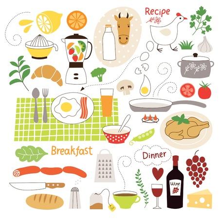 cocina caricatura: Colección de ilustraciones Comestibles, ingredientes alimenticios