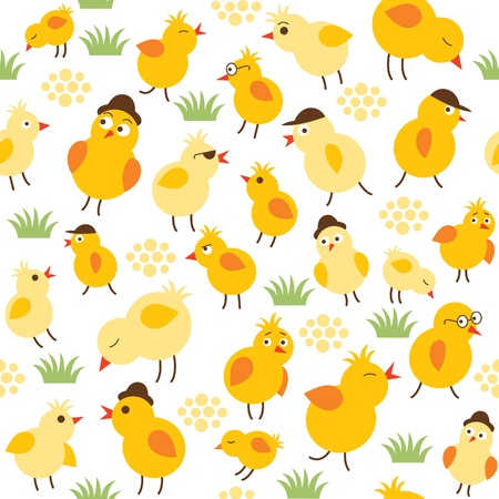 poult: seamless pattern withlittle chiken
