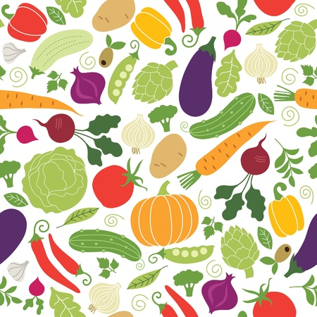 vegatables: seamless pattern , vegetables illustrations