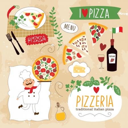 mozzarelle e formaggi: insieme di elementi di design Pizza