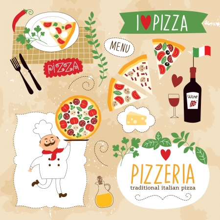 cartooning: set of Pizza design elements