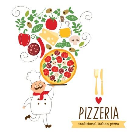 mozzarelle e formaggi: Divertente cuoco con una grande pizza e ingredienti, illustrazione
