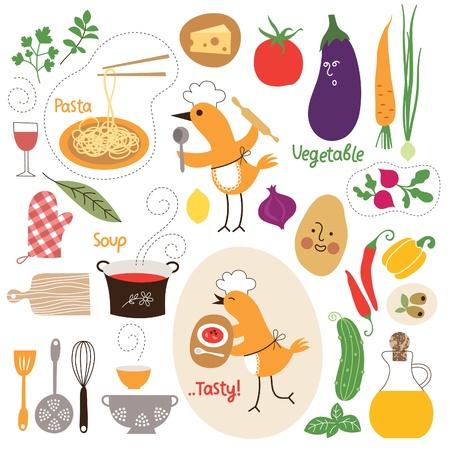 Alimentazione sana, raccolta illustrazioni cibo Vettoriali