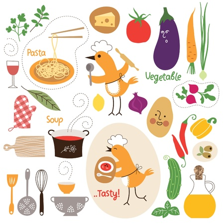 cooking recipe: healthy eating, food illustrations collection