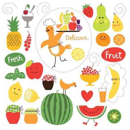 cocina caricatura: la alimentaci�n saludable, la recogida ilustraciones alimentos