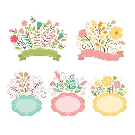 flores de cumplea�os: Conjunto de ramos de flores y cuadros rom�nticos, recolecci�n de vectores